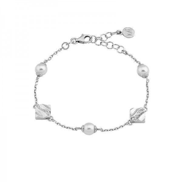 Brazalete Rombo plata con perlas