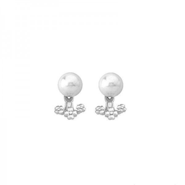Pendientes Mood de plata con perla blanca