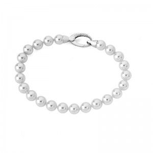 Pulsera Lyra de plata con perlas clásicas
