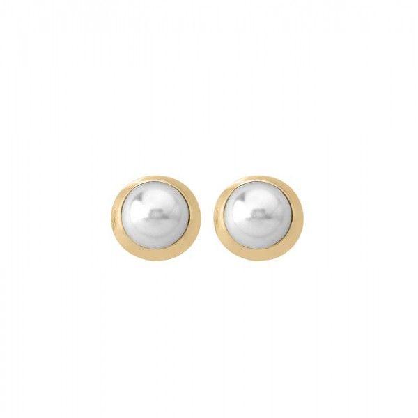 Pendientes de perla con orla dorada pequeño