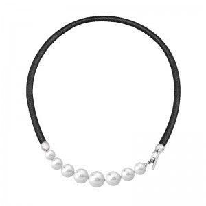 Gargantilla Isla de cuero con perlas