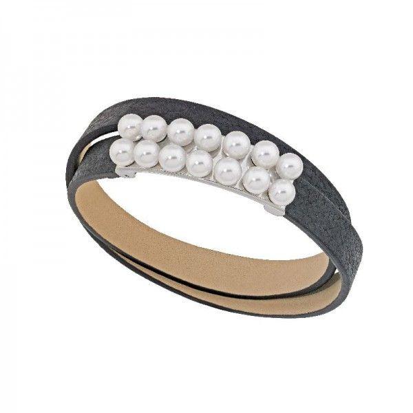 Brazalete Moonlight de perlas y cuero