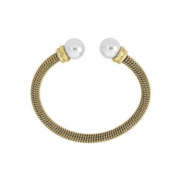 Brazalete rigido dorado perla blanca
