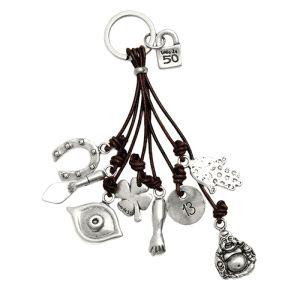 Llavero -Amuleto- con metal baño plata