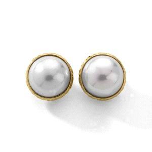 Pendientes media perla clip dorado