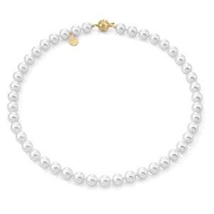 Collar de perlas blancas de plata dorada