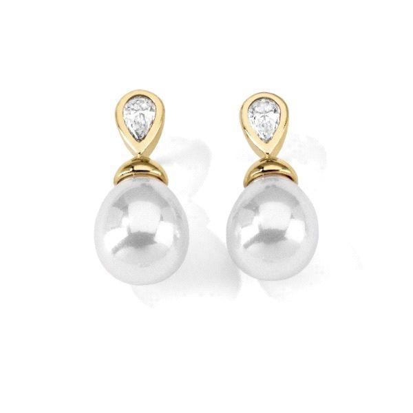 Pendientes lágrima perla8mm plata dorada