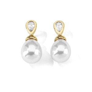 Pendientes de perlas en forma de gotas