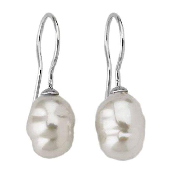 Pendientes de perlas barrocas blancas