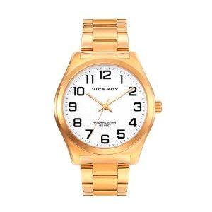 Reloj Hombre Clasico de Acero Dorado.