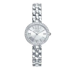 Reloj Clásico Mujer plateado con piedras