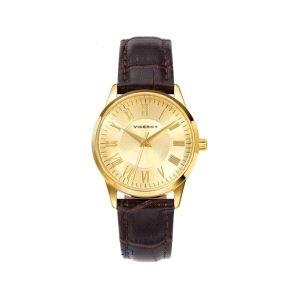 Reloj clásico Mujer dorado con piel