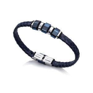 Pulsera Hombre Fashion azul de cuero