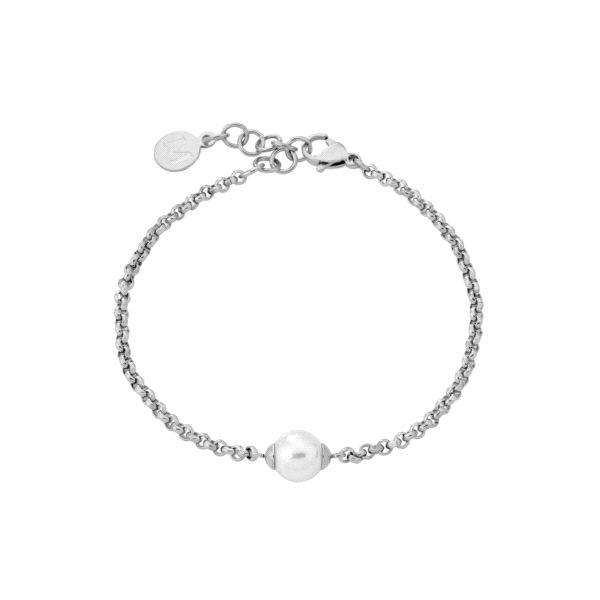 Pulsera de acero con perla blanca 8mm