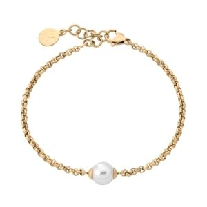 Pulsera Mujer de acero con baño oro y perla