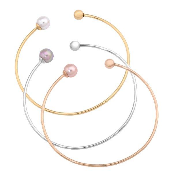 Set brazaletes rígidos tricolor de perla