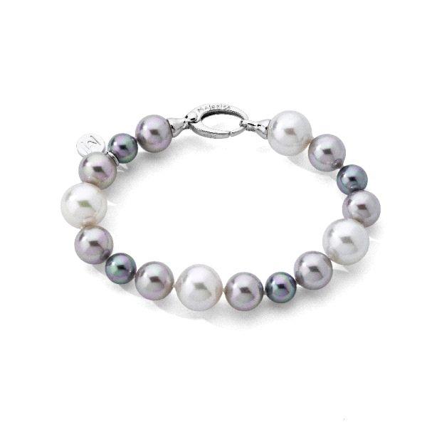 Pulsera de perlas tricolor graduadas