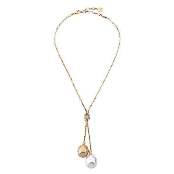 Collar perlas dorada y blanco plata chap
