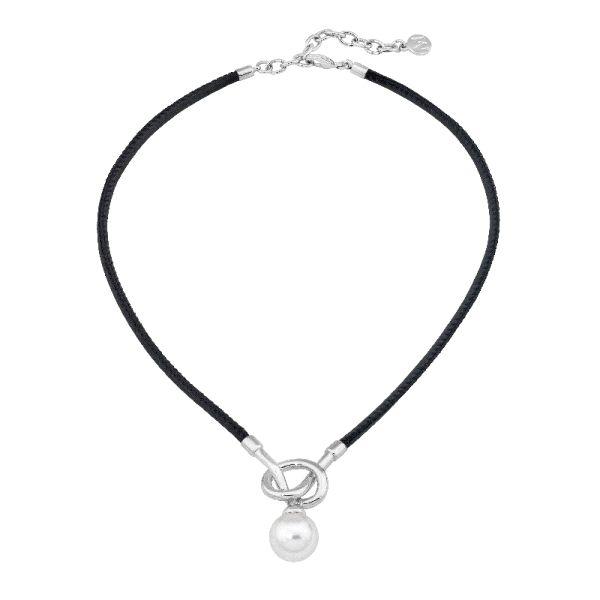 Collar perla 14mm de plata y cuero