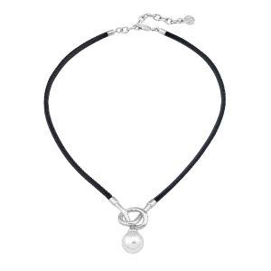 """Collar """"Sicilia"""" de cuero con perla"""
