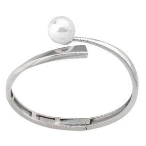 Pulsera de plata rígida con perla