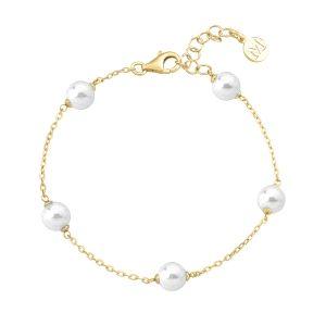Pulsera clásica de perlas con plata dorado