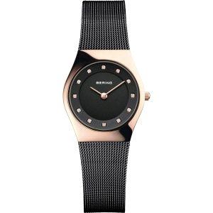 Reloj Mujer acero negro y oro rosa brillo