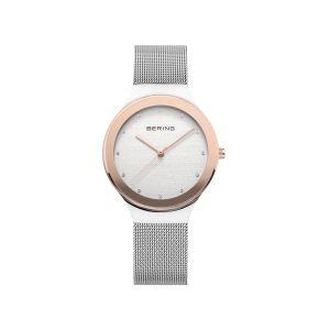 Reloj Mujer rosa y malla milanesa plateado