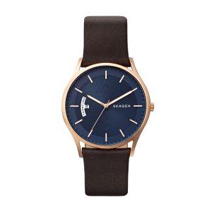 Reloj Hombre Holst azul con piel marrón