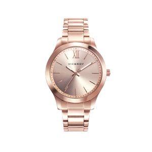 Reloj Mujer clasico acero baño rosa
