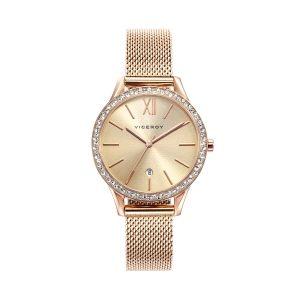 Reloj Mujer Chic malla milanesa rosa