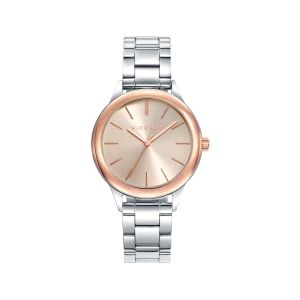 Reloj Mujer acero con bisel baño rosa