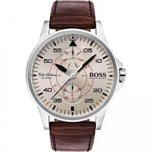 Reloj Hombre Aviator multifunción de piel