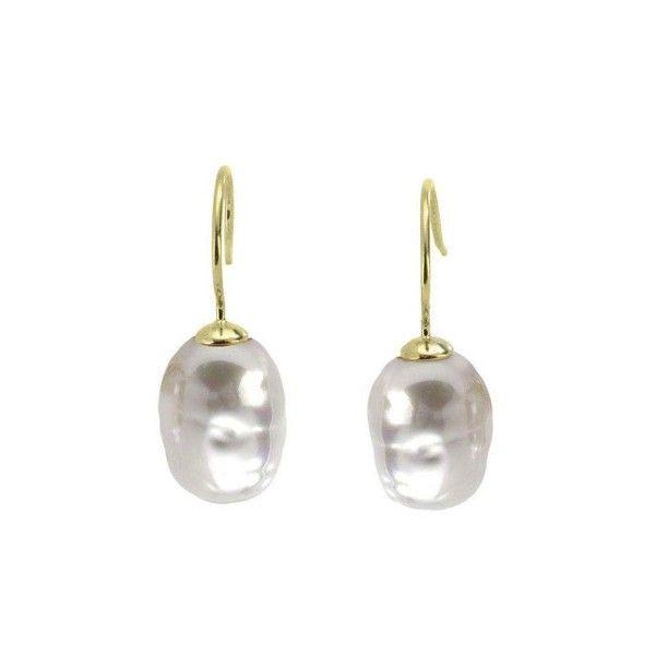 Pendientes de plata con perla barroca
