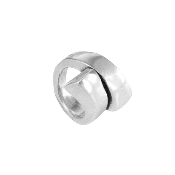 Anillo -Ricito- de metal con baño plata