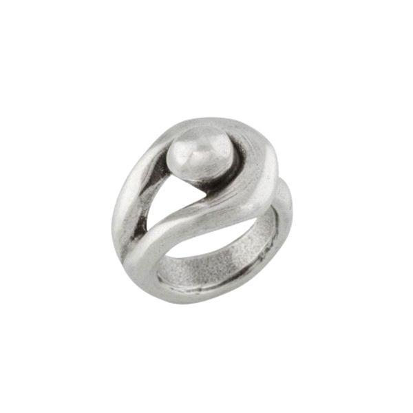Anillo -Ojalá- de metal con baño plata