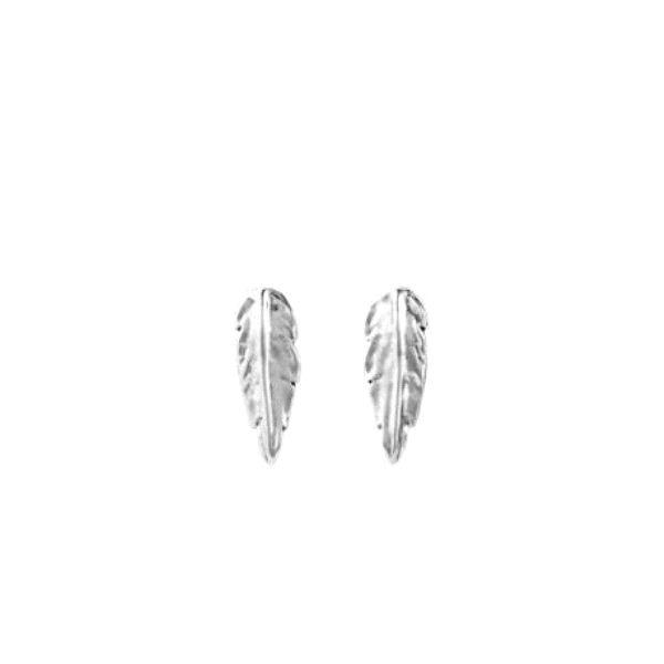 Pendientes -Pluma- con baño plata