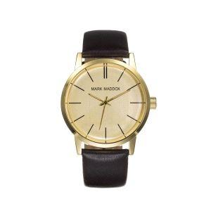 Reloj Hombre dorado y correa negra