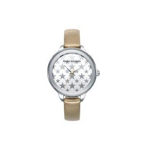 Reloj Mujer plateado con piel dorado