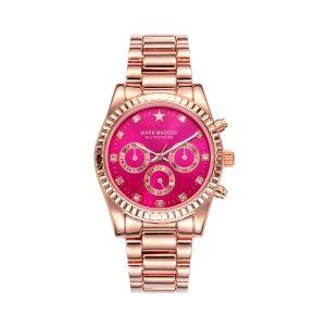 Reloj Mujer cronógrafo esfera rosa y acero