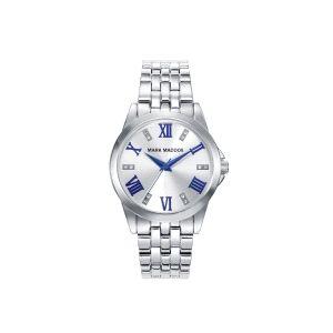 Reloj Mujer plateado y azul con circonitas
