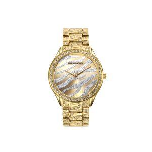 Reloj Mujer de acero dorado y circonitas
