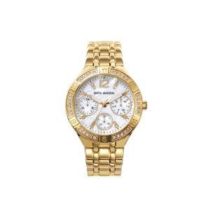 Reloj Mujer con nacar dorado y circonitas