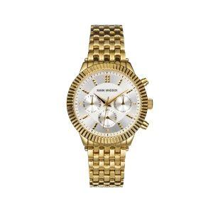 Reloj Mujer de acero dorado multifunción