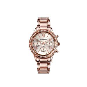 Reloj Mujer de acero oro rosa multifunción
