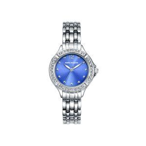Reloj Mujer plateado azul y circonitas