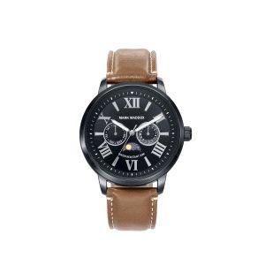 Reloj Hombre negro de piel marrón