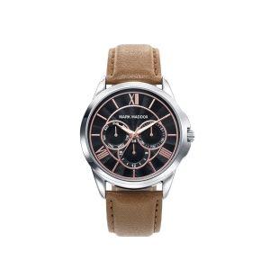 Reloj Hombre multifunción de piel marrón