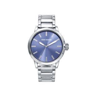Reloj Hombre de acero plateado y azul