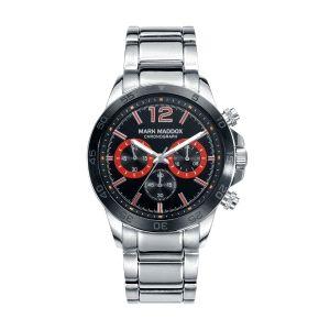 Reloj Hombre de acero negro y rojo